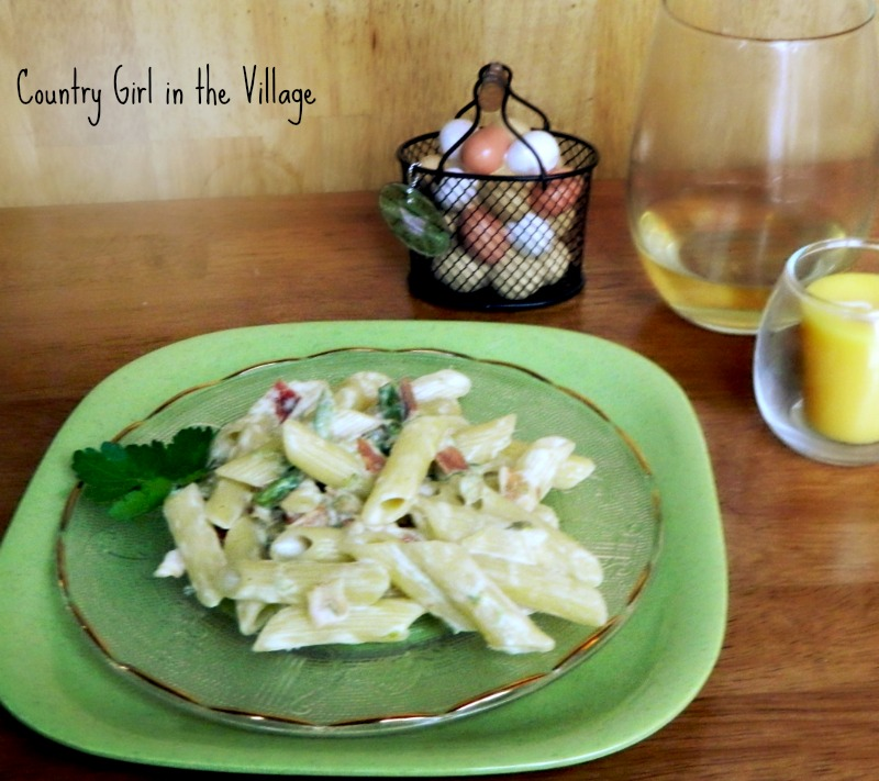 Asparagus Penne with Bacon Cream Sauce recipe